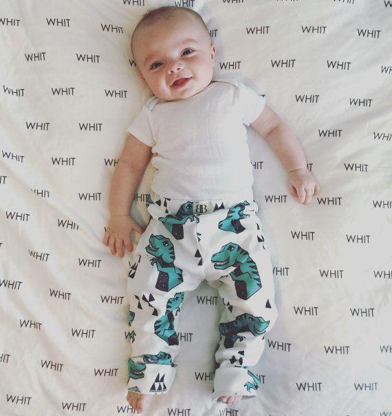 Organic Dinosaur Leggings, T Rex, T Rex Leggings, Baby Boy Leggings, Organic Cotton Knit Leggings, Toddler Leggings