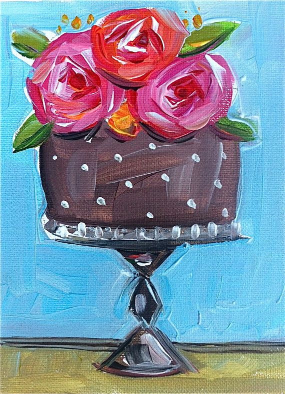 Chocolate Cake with Roses by DevinePaintings on Etsy, $38.00