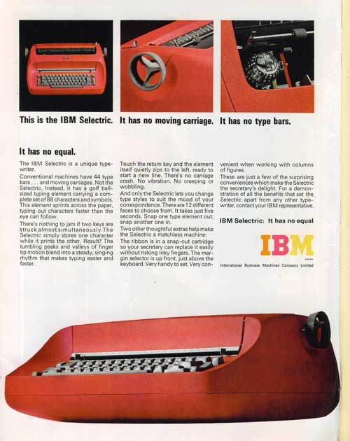 IBM Selectric Typewriter Ad.Slick Ibm, Offices Equipment, Typewriters Turn, Ibm Red, Ibm Selectric, Schools Offices, Retro Ibm, Selectric Typewriters, Ibm Advertising