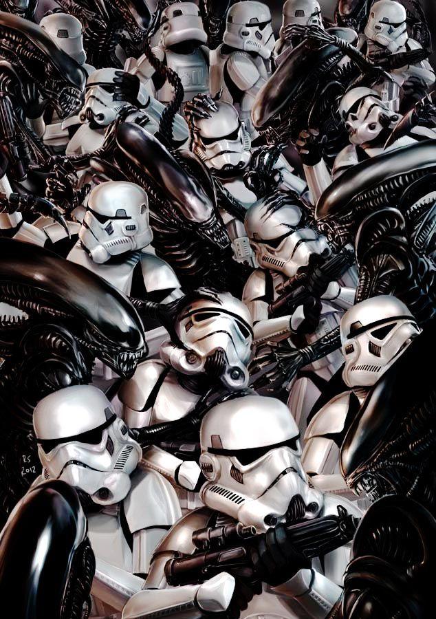 Stormtroopers vs Aliens /by *rhymesyndicate #deviantART #StarWars #digital #art