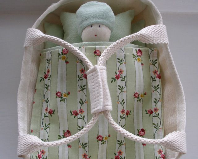 organic cloth doll, canvas doll's bed and bedding