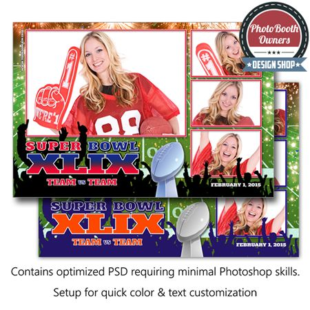 http://www.photoboothtemplates.com/product/football-celebration-postcard/  Get ready for some football, and great memories! This swinging Super Bowl party photo booth template is sure to thrill everyone in attendance! With its unique design features a football field and fireworks background, photos framed in bold colors and all overlayered with a celebrating cheering crowd. Get ready for some football! This design is arranged with 4 photos in a 1×3 layout.