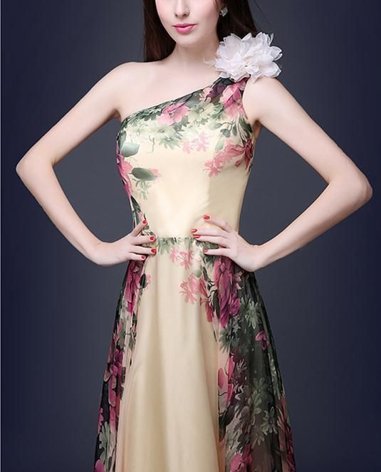 Elegant One Shoulder Printed Evening Dress