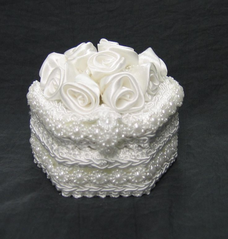 hexagon shape lace covered wedding ring box