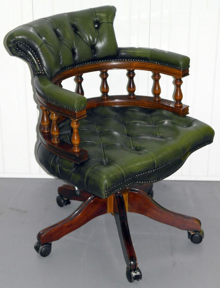 Stunning Chesterfield Directors Captains Chair Aged Green Leather Delivery Pretty