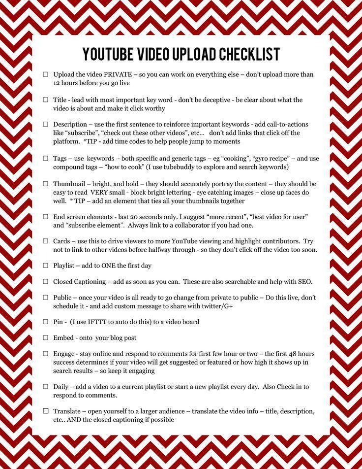 Youtube Video Upload Checklist Start Youtube Channel Youtube Channel Ideas Youtube Business