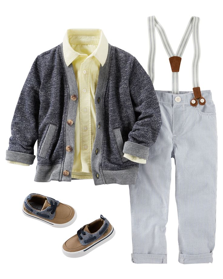 Layer his classic oxford with a Grandpa cardigan for dapper spring style. Seersucker suspender pants add a little Southern charm to this good old-fashioned getup.