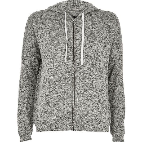 River Island Grey slouchy hoodie (£41) ❤ liked on Polyvore featuring tops, hoodies, outerwear, grey, sweatshirts, t shirts / tanks, women, slouchy hoodie, gray hoodie and hooded zip up sweatshirt