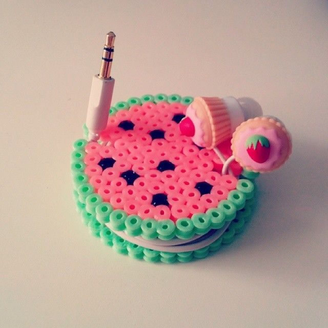 Watermelon earbud organizer hama beads by mahama_beads