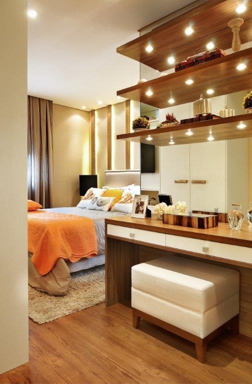 Decoração de interiores, apto de 104m² em Jundiaí,SP #quitetefaria #penteadeira…