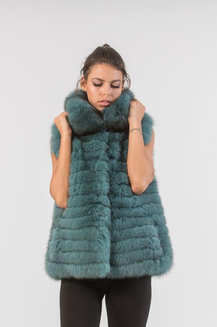 Petrol Green Fox Fur Vest     #petrol#fox #fur #vest #real #style #realfur #naturalfur #elegant #haute #luxury#chic #outfit #women #classy #online #store