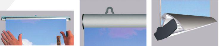 POSTER (dettagli) - Sistema economico, elegante e leggero per la communicazione visiva su punto vendita. Sospeso a soffitto o fissato a parete tramite due ganci. Profili in alluminio anodizzato con sistema clicclac per un cambio rapido della grafica. Ideale per l'allestimento di vetrine. Dimensioni: L. 50, 60, 70, 85, 100, 120 cm L. 140 cm su richiesta