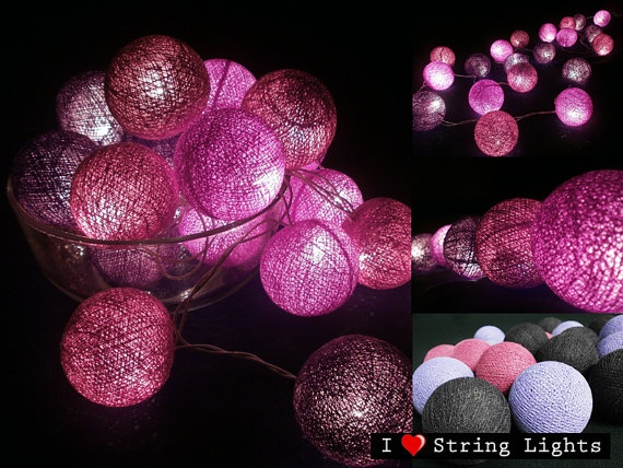 Violet Colour Set Cotton Ball String Lights by LoveStringLights, $12.99