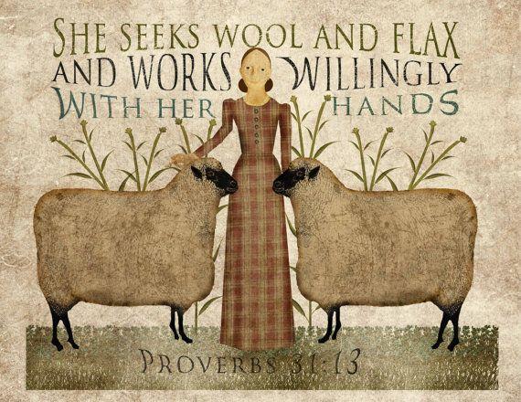 Primitive folk Art Wool and Flax Art 85x11 by MarysMontage on Etsy, $4.00