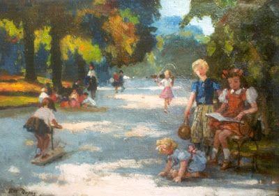Dupuy, Paul Michel (1869-1949) Spelende kinderen in Parc Monceau Parijs