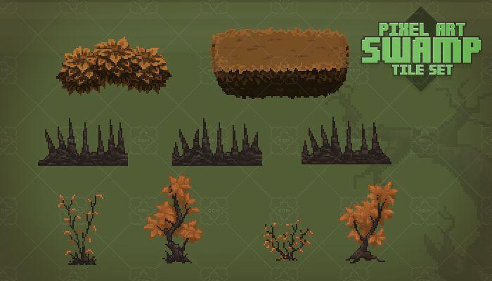 Pixel Art Swamp Tile Set | Pixel Art | Pixel art background