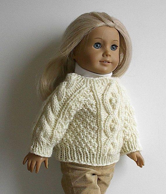 18 Inch Doll Clothes  Handknit Irish Fisherman por Lavenderlore