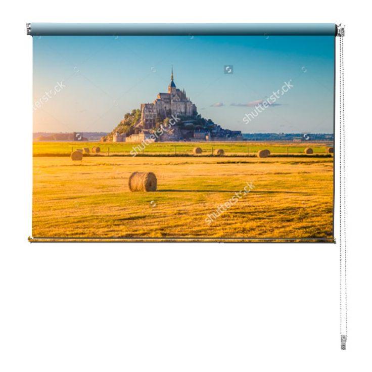 Rolgordijn Mont Saint Michel | De rolgordijnen van YouPri zijn iets heel bijzonders! Maak keuze uit een verduisterend of een lichtdoorlatend rolgordijn. Inclusief ophangmechanisme voor wand of plafond! #rolgordijn #gordijn #lichtdoorlatend #verduisterend #goedkoop #voordelig #polyester #frans #frankrijk #landschap #uitzicht #geel #stro #hooi #montsaintmichel