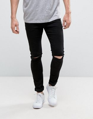 20d517ff2442 DESIGN super spray on jeans with knee rips in black in 2018