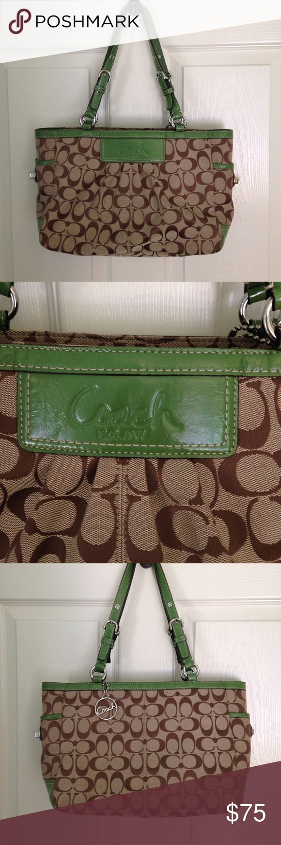 Coach purse. Green brown. Like new condition. Authentic coach purse in green leather and brown canvas with coach signature print. One small black mark on bottom that is appx 3/4 in long. Haven't tried to remove it. Inside is super clean. Coach Bags Shoulder Bags