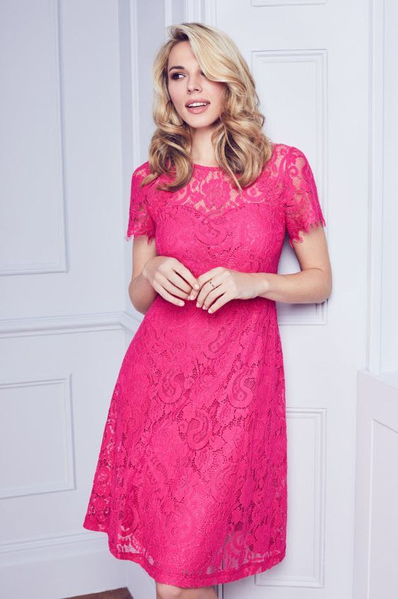 A perfect wedding guest dress for wedding season this Pink Scallop Lace Midi Dress is just £40 #weddingguest #foreveryoccasion