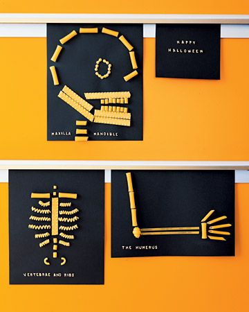 Pasta Skeletons: Kids can bone up on anatomy and create a fun Halloween decoration at the same time when they make a skeleton out of noodles. With an illustration of a skeleton as a guide, they just need lots of dried pasta, white glue, and construction paper to assemble the pictures. We snapped some of the pasta in half and used alphabet-soup noodles to make labels.