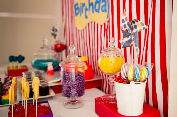 "Love the bright colors and apothecary jars filled with candy at this ""Wiggles"" party from Australia! Found via Kara's Party Ideas."