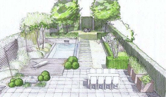 jardin de lotissement perspective arrière vue de l'intérieur de la maison. piscine , terrasse en pierre et en bois, pot potager a droite. zone de pelouse au fond.