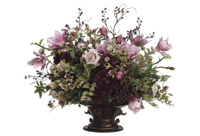 "26"" Magnolia Bouquet in Planter, Faux"