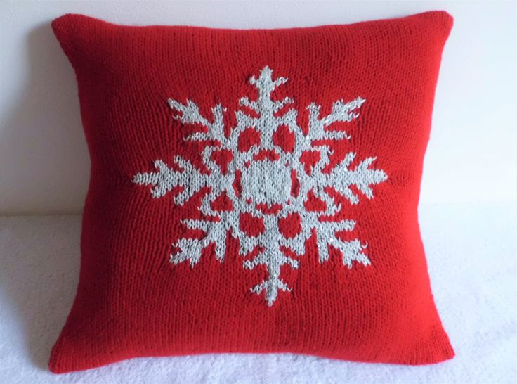 Silver Snowflake 16x16 Christmas Red Pillow Cover Sequins Couch Sparky Silk Throw
