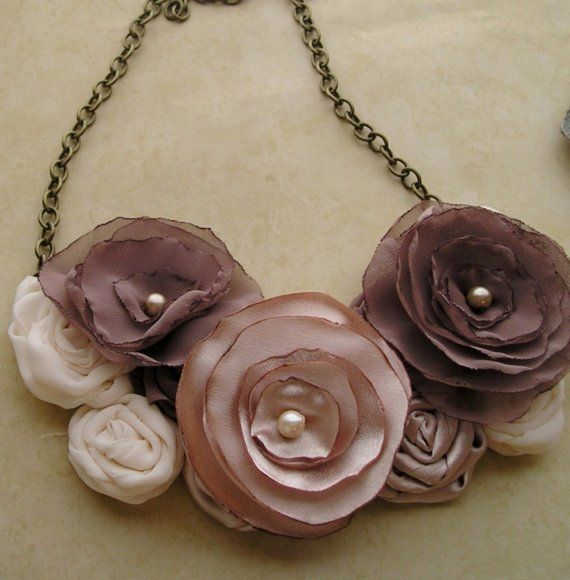 Fabric flower bib necklace. Love the earth tones in this delicate pretty necklace. See it on Etsy!