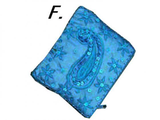 Gyöngyös himzett pénz- és irattartó (F) kék