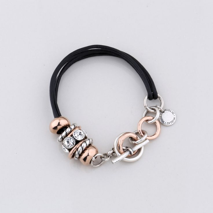 Miglio Jewellery Serendipity Bracelet -  Jet black multi-strand leather bracelet with rose gold and burnished silver plated rings and beads created with Swarovski® crystals - 19 cm B1284