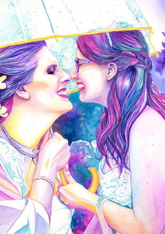 Art nouveau print lesbian lovers