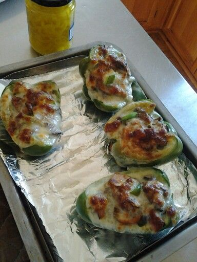 Philly cheesesteak stuffed peppers. Made per previous recipe pin. Deeelicios! 10/13/13 used the toaster oven @ 400 for 15 or so minutes. The peppers were still crunchy like we like em :-)