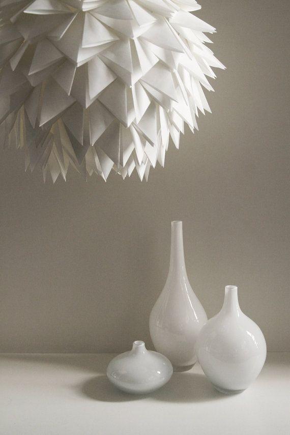 White Spiky Pendant Light  Overlapping Folds by Zipper8Lighting, $175.00
