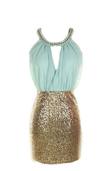 Blue and Gold Sequin color block dress $65