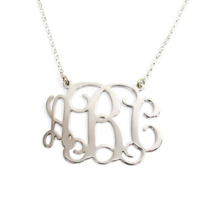 "Sterling silver monogram necklace. 0.8"" monogram necklace. Silver initial necklace. Initial monogram necklace. Monogram silver necklace."