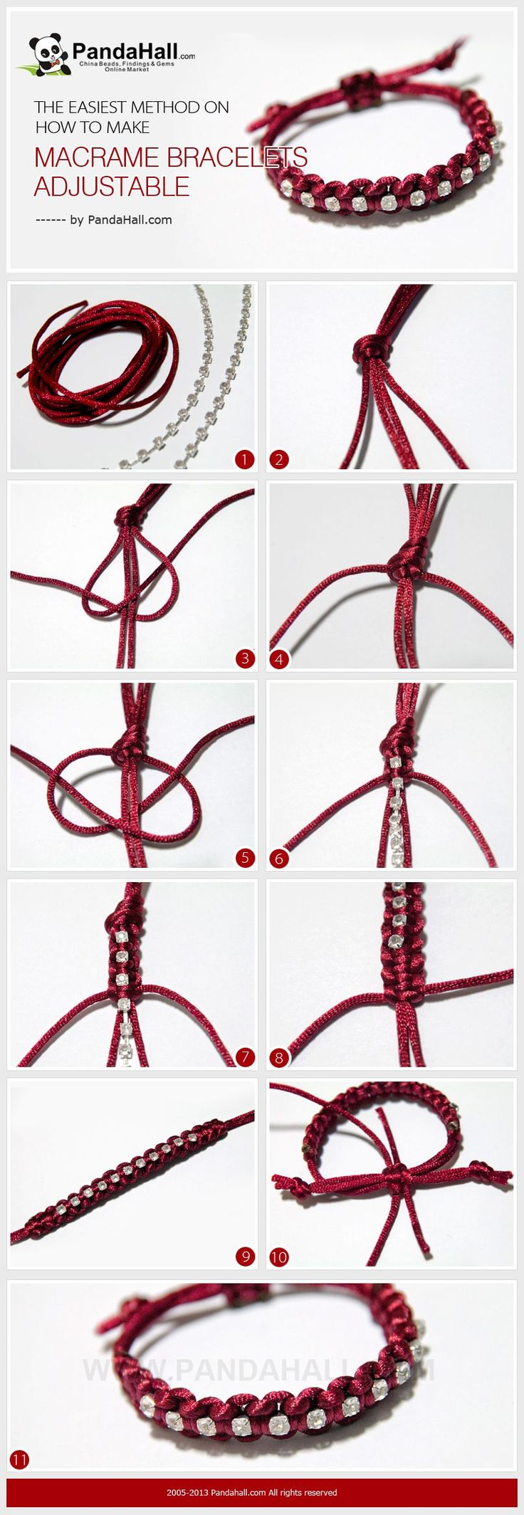 It's another bracelet making tutorial, at meanwhile, I'll emphasize the subject about how to make macrame bracelets adjustable in simple way again. Especially for those who learn to knot for just several days, I recommend this!