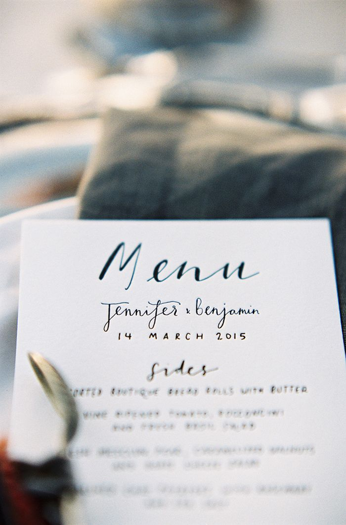 Coastal-inspired wedding stationery. #menu #beachwedding