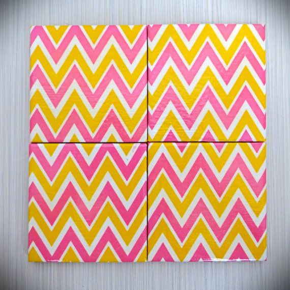 Pink Yellow White Chevron 4 Piece Ceramic Tile by LUSHCoasterLand