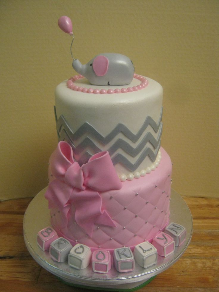Chevron little elephant tiered baby shower cake in pink and gray.