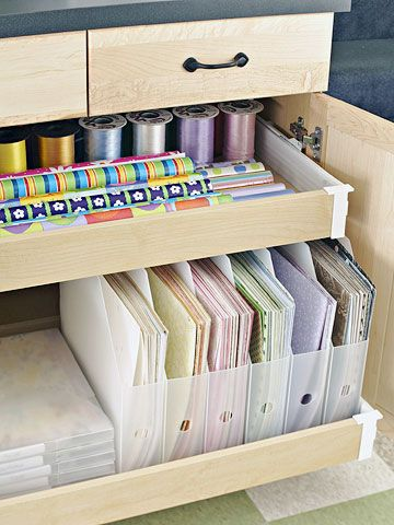 Utilize Drawer Space. Make the most out of the space under your cabinets with rolling drawers. Store paper, ribbon, and other supplies in this handy space. - Excerpted from article: The Ultimate Scrapbooking Room | Better Homes and Gardens