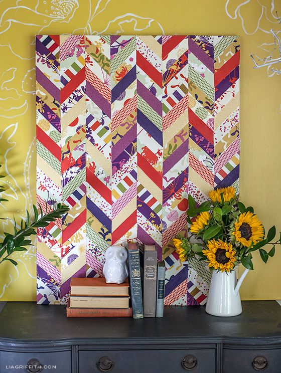 Fabric Chevron Art - Great idea, could do with another pattern.