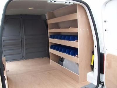 Van Storage Van Racking VW Caddy Maxi Plywood Shelving with storage bins