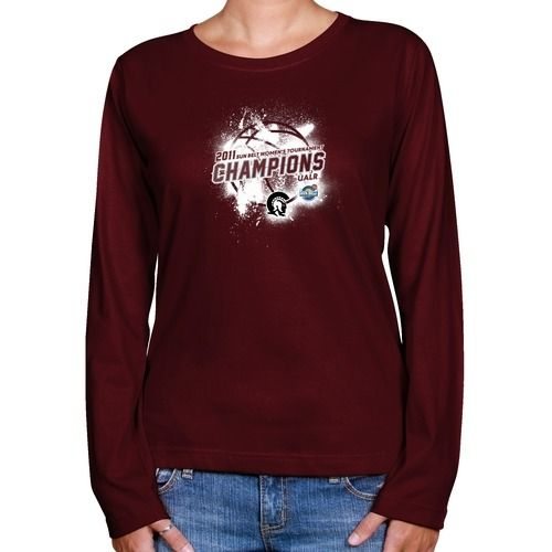 $24.95 Arkansas Little Rock Trojans Ladies Maroon 2011 Sun Belt Women's Basketball Champions Paint Splat Long Sleeve Classic Fit T-shirt