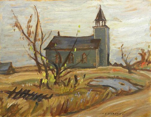 A.Y. Jackson - Church at Vennachar 10.5 x 13.5 Oil on board (1954)