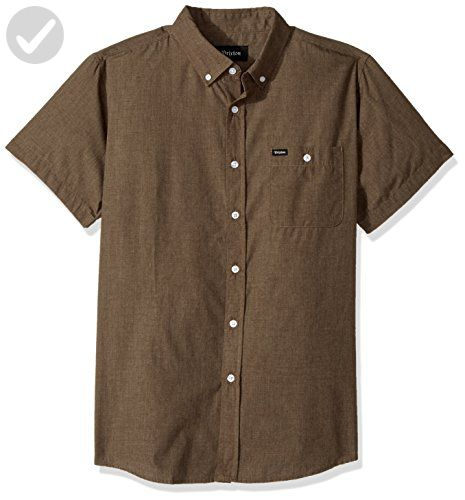 Brixton Men's Central Tailored Fit Short Sleeve Button Down Woven Shirt, Heather Moss, XL - Mens world (*Amazon Partner-Link)