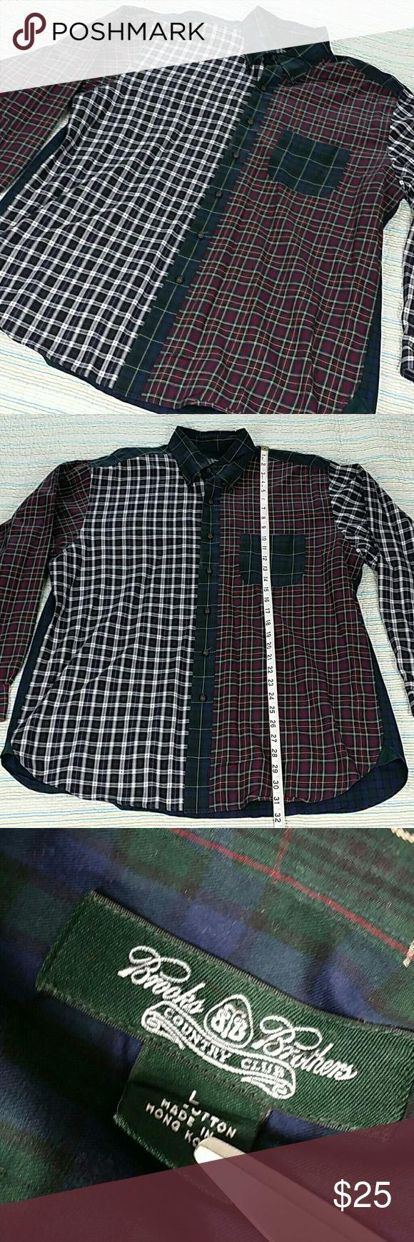 Brooks Brothers Country Club Plaid Shirt Sz XL Brooks Brothers Country Club Casual Shirt Green Navy Blue Burgandy Plaid Sz XL Brooks Brothers Shirts Casual Button Down Shirts