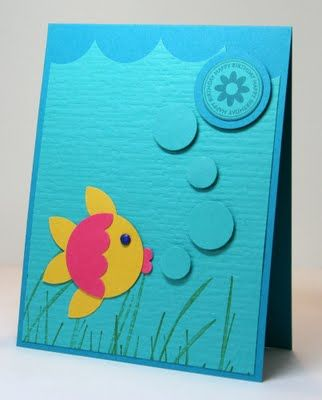handmade card fromKrystal's Cards and More: Punch Art Fish .,.. adorable round  fish with tone on tone punched bubbles rising to the sentiment circle ... wonderful card! ... Stampin'Up!